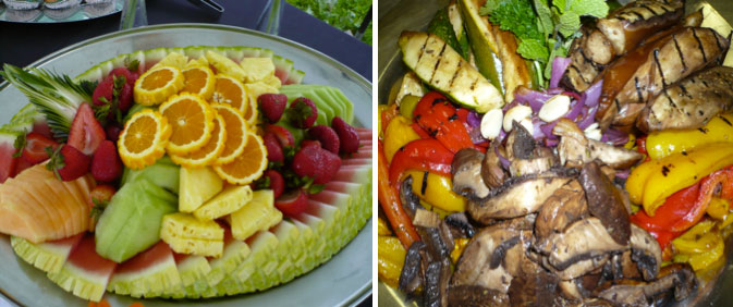 Catered Fruit Platter and Grilled Veggies